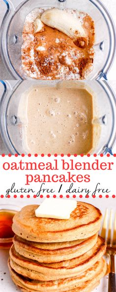 gluten free breakfast An easy and healthy oatmeal blender pancakes recipe made with simple ingredients like oats, banana, and egg. Perfectly fluffy and packed with protein, these gluten free pancakes make the best breakfast! Baby Food Recipes, Whole Food Recipes, Cooking Recipes, Food Blender Recipes, Kale Juice Recipes, Gluten Free Breakfasts, Healthy Breakfast Recipes, Healthy Oatmeal Breakfast, Best Breakfast Foods