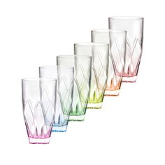 Lorren Home Trends Ninphea Highball Glasses in Multicolor (Set of 6)