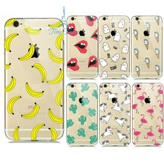 transparent soft shell Watermelon Fruit Banana Unicorn Sexy lips  Phone Back Cover Phone Case For Iphone 6 6S 6Plus 5 5S Case