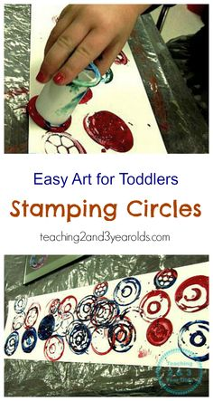Easy Toddler Art Using Spools - Teaching 2 and 3 Year Olds