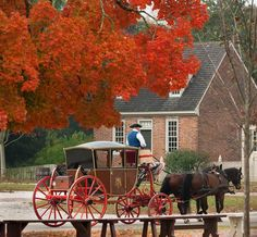 is the season for rides; there may not be a better way to go Check out the fall foliage in Williamsburg! It might be time for a historic friends. Colonial Williamsburg Va, Williamsburg Virginia, Virginia Is For Lovers, New England Style, Colonial America, Home Improvement Projects, American History, Beautiful Places, Kitchen Decor