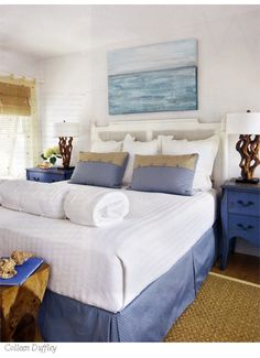 Soothing blue and white beach bedroom