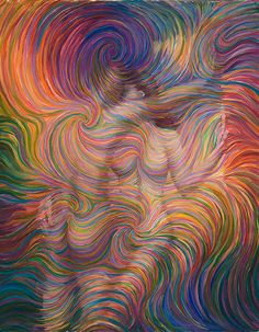 Leaning Lovers Energy Painting  Giclee Print by EnergyArtistJulia, $48.00