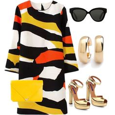 A fashion look from March 2015 featuring colorful dresses, ankle strap pumps y genuine leather purse. Browse and shop related looks.