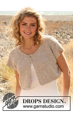 Jacket pattern by DROPS design - Knitting ❤ - Knitting Designs, Knitting Patterns Free, Knit Patterns, Free Knitting, Free Pattern, Knit Shrug, Crochet Jacket, Knit Crochet, Drops Design