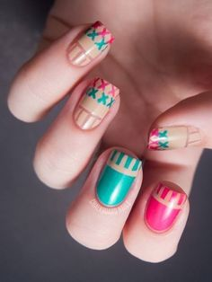 blue pink and tan nail design