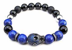 "BOYBEADS - ""Cranium Lapis"" BOYBEADS 10mm Lapis Lazuli Onyx Sterling Silver Skull Pave Bracelet , $150.00 (http://boybeads.com/cranium-lapis-boybeads-10mm-lapis-lazuli-onyx-sterling-silver-skull-pave-bracelet/)"