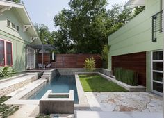 Pool Designs for Small Yards Pool Contemporary with Exterior Fence Firepit Green