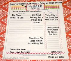 Organizing a Garage Sale: Ways to get your kids involved and free printable tracking sheets. #GarageSale #FamilyFun