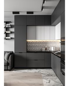 Kitchen decor and decoration idea in modern and so popular style this year! Kitchen Room Design, Luxury Kitchen Design, Kitchen Cabinet Design, Home Decor Kitchen, Interior Design Kitchen, Home Kitchens, Modern Kitchens, Modern Kitchen Cabinets, Cuisines Design