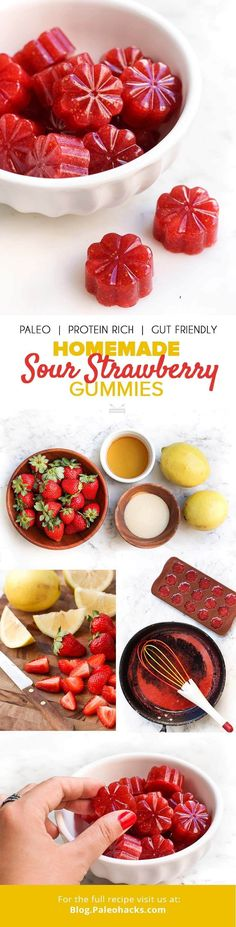 These Homemade Sour Strawberry Gummies are filled with protein and fresh fruit! Plus, you only need 15 minutes of hands-on time to make these refreshing treats. Get the recipe here: Paleo Recipes, Snack Recipes, Dessert Recipes, Cooking Recipes, Delicious Recipes, Easy Recipes, Healthy Treats, Healthy Desserts, Paleo Appetizers