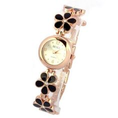 Reloj Moda Flor de las margaritas Oro rosa Pulsera Mujer-negro
