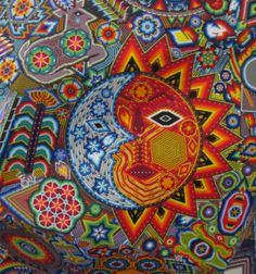 sun and moon art | closeup picture of the huichol sun moon symbol the sun is considered ...