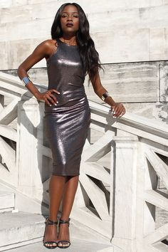 462b1281c5 Discover this look wearing Silver Metallic AX Paris Dresses - Gunmetal  Goddess by ChicGlamStyle styled for Formal