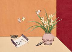 HANA SEO painting & illustration Japanese Art Styles, Korean Painting, Hana, Drawings, Illustration, Flowers, Illustrations, Florals, Sketches