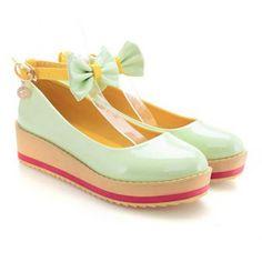 Patente Casual Bow Cuero y poco profundas Diseño de la Mujer Zapatos de plataforma para Vender - La Tienda En Online IGOGO.ES