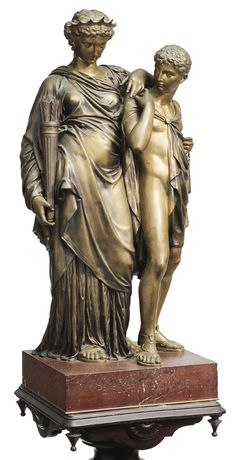 Lot 221 from November 10-11, 2012 Auction - After Henri-Etienne Dumaige  (French, 1830-1888) Penelope and Telemaque, unsigned, parcel gilt bronze on red marble plinth, bronze 31 x 16 x 11-5/8 in.; with a Victorian turned wood pedestal 38 x 14-3/8 x 14-3/8 in.; 69 in. overall height - Estimate $2,000 to $4,000