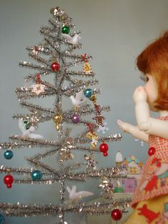 Make a Miniature Tinsel Tree for a doll house.  Zoinks.