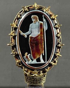 Jupiter with eagle.Cameo of Chartres.Sarrdonyx from Rome.(1st CE) Mount: gold and Enamel (14th). Cabinet des Medailles, Paris.