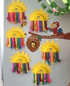 Kindergarten rainbow paintings - New Deko Sites Spring Crafts For Kids, Paper Crafts For Kids, Summer Crafts, Art For Kids, Rainbow Crafts Preschool, Preschool Crafts, Sunshine Crafts, Art Activities For Toddlers, Kindergarten Art Projects