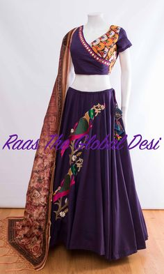 Chaniya choli 2018 Buy online beautiful designer collection -ghaghra choli navratri collection at best prices at RAAS THE GLOBAL DESI . Choli Designs, Lehenga Designs, Blouse Designs, Churidar Designs, Garba Dress, Navratri Dress, Chaniya Choli For Navratri, Indian Dresses, Indian Outfits