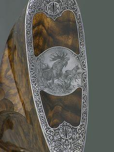 Engraving by Richter Rifle Stock, Gun Art, Shooting Guns, Custom Guns, Metal Engraving, Hunting Rifles, Cool Guns, Firearms, Shotguns