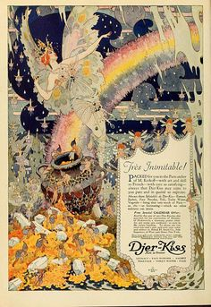 Antique art deco illustration advertisement for djer-kiss French cosmetic fairies/ FrenchFrouFrou on Etsy for digital download