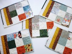 Set of 5 fun mug rugs patchwork mats quilted by StephsQuilts, $22.00