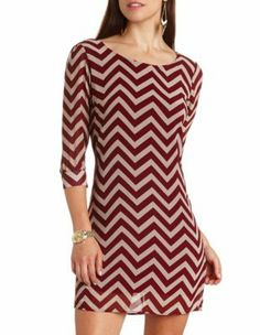 #chevron #print shift #dress <3 Great Fall dark red Get a discount: http://www.studentrate.com/itp/get-itp-student-deals/Charlotte-Russe-10percent-Student-Discount--/0