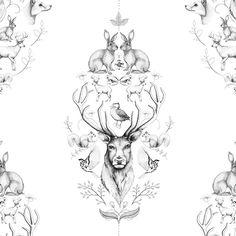 Wall art -Animal Symmetry Symphony by Linn Warme Buy it on Art And Illustration, Gravure Illustration, Illustrations, Grafic Design, Tattoo Schwarz, Of Wallpaper, Wallpaper Designs, Beautiful Wallpaper, Desenho Tattoo