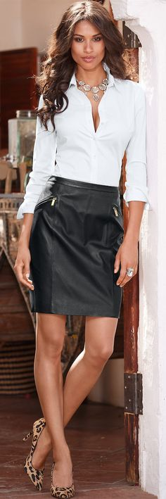 Black Leather Skirt • Street 'CHIC • ❤️ ✿ιиѕριяαтισи❀ #abbigliamento