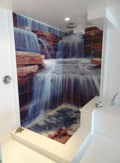 Glass Tile Murals For Showers Design Ideas, Pictures, Remodel and Decor Bathroom Mural, Bathroom Floor Tiles, Bathroom Stand, Shower Bathroom, Glass Bathroom, Design Bathroom, Master Bathroom, Floor Murals, Tile Murals