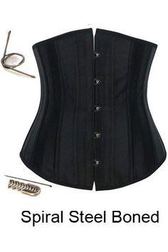 a3817c1254e Plus Size Black 12 Steel Boned Underbust Corset Waist Training Corset