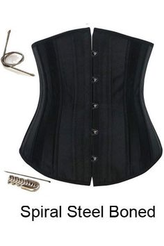 SEXY BLACK Steel Boned Waist Training Cincher Plus Size Underbust Corset Shaper #Handmade #LaceUpBack
