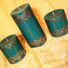 Set of 3 Green and Gold Henna Candles Hand Painted by EmanDesign Henna Candles, Diy Candles, Bottle Art, Bottle Crafts, Creation Bougie, Gold Henna, Candle Arrangements, Henna Party, Candle Art