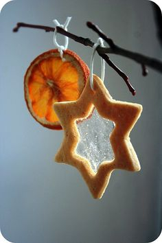 Deck the tree with dried fruit and stain glass cookie ornaments