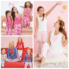 Valentines Day Matching Mommy and Me Pajamas >> Just in time for Valentine's Day, we have gathered together some of the cutest matching family pajamas in pretty shades of pinks and reds.