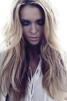 Long Blonde straight coloured multi-tonal shaggy womens hairstyles for women