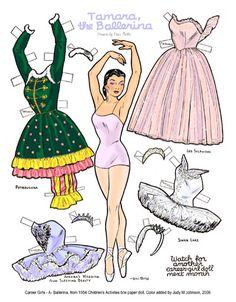 """Tamara, the ballerina"" paper doll (6a of 8) by Davi Botts from ""Children's Activities"" magazine"