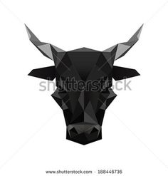 Illustration of black abstract origami bull symbol isolated on white background - stock vector