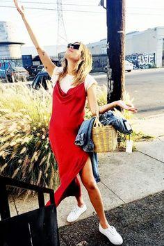 Camille Rowe rocks a slip dress with a tee | Honey of California ZINE