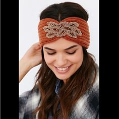 NWOT Urban Outfitters Beaded Rib-Knit Ear Warmer New without tags - never worn! SOLD OUT EVERYWHERE! First two pictures show color best! Color: Rust Urban Outfitters Accessories Hair Accessories