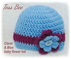 Baby Girl Hat Baby Flower Hat Football Team colours Claret | Etsy Baby Girl Hats, Cute Baby Girl, Girl With Hat, Baby Flower, Flower Hats, Crochet Round, Crochet Hats, Crochet Ideas, Dr Brown Bottles