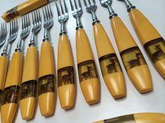 Art Deco Bakelite fork set deer doe figurine by mightyMODERN