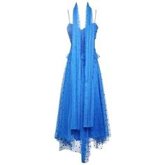 Preowned Loris Azzaro Blue Polka Dot Dress With Scarf Circa 1970s ($1,100) ❤ liked on Polyvore featuring dresses, blue, evening dresses, layered dress, spaghetti strap dress, blue spaghetti strap dress, slip dress and blue peplum dress