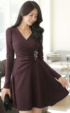 StyleOnme_Jeweled Wrap Style Flared Dress #elegant #dress #autumntrend #koreanfashion #kstyle #kfashion #seoul