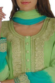 Kashmiri Tilla Green Ombre Shirt With Silvery-Gold Skirt And Dupatta Designer Dress For Men, Indian Designer Wear, Designer Dresses, Batik Fashion, Women's Fashion, Fashion Ideas, Suits For Women, Ladies Suits, Clothes For Women