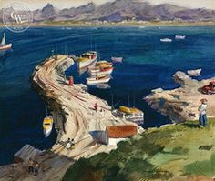 Frederic Whitaker - San Carlos Bay, c. 1950's, California art, original California watercolor art for sale - CaliforniaWatercolor.com