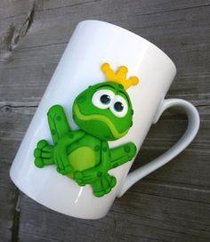 Hrnek - žabí princ princezna dárek hrnek hrneček čaj zelený dětský dáreček pohádka žába dětské bílý princ hrníček žabky zvířátko žabička žabák pro děti šálek pití
