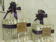 Shabby Chic/Rustic Birdcages/Wedding Cards/Wishes by YesMoreFunk.  Got them in the TEAL ribbon..